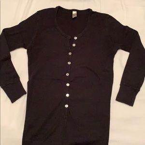 Black Button-Down Henley (American Apparel, XS)